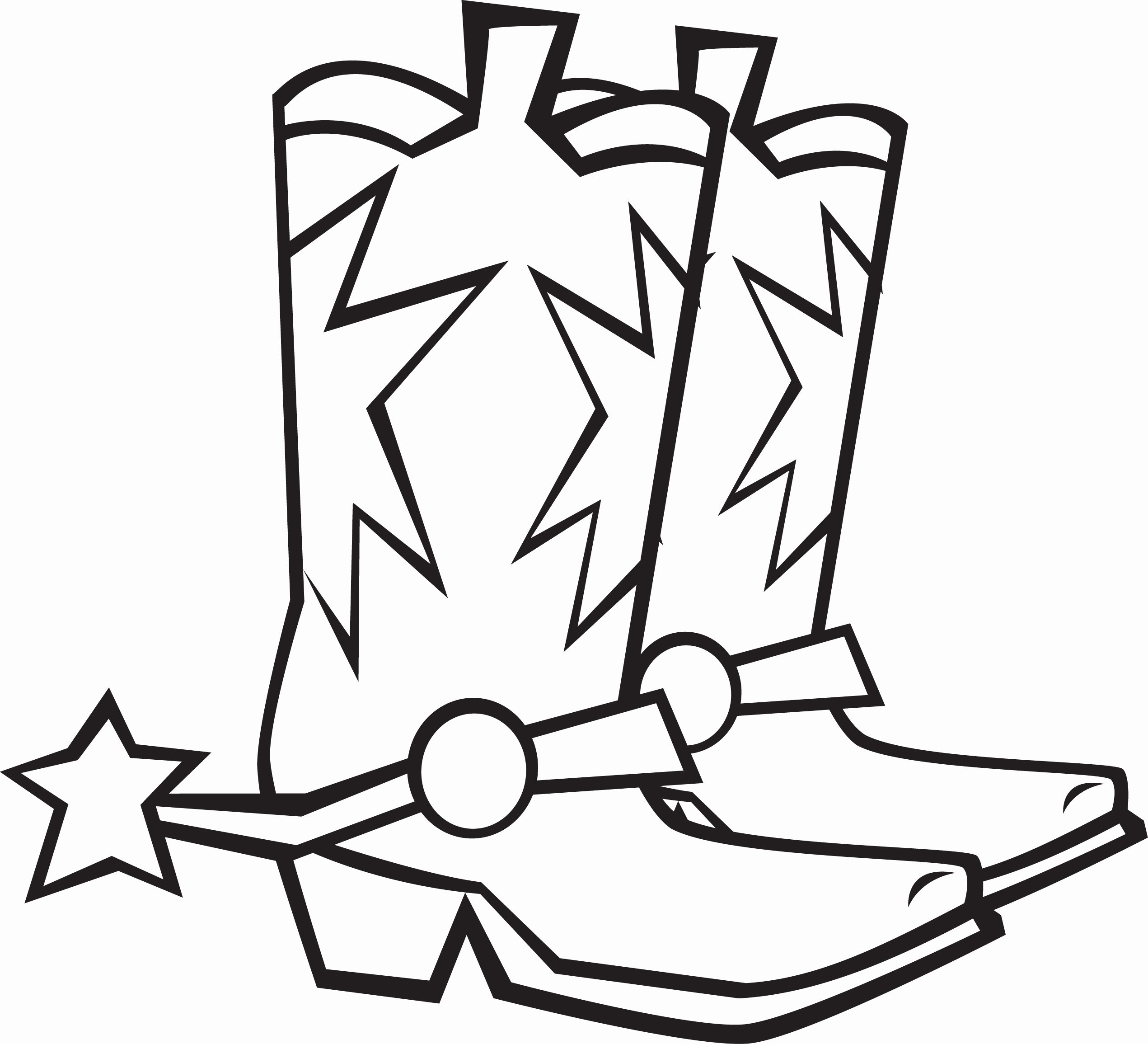 2541x2310 Rodeo Western Boots Coloring Page