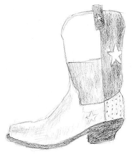 452x529 Sketches For 2014, Number 24 Cowboy Boot Art Fn