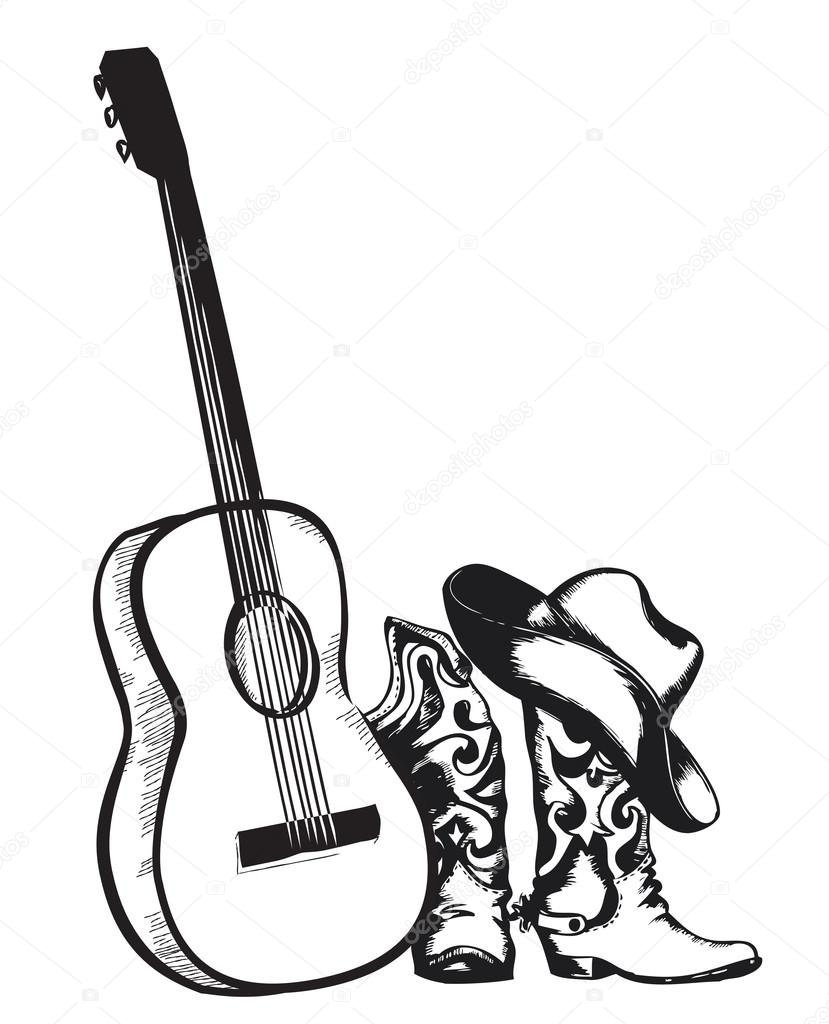 829x1024 Cowboy Boots And Music Guitar Isolated On White Stock Vector