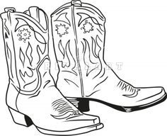 236x192 Line Art Graphic Image Cowboy Boots Reboot
