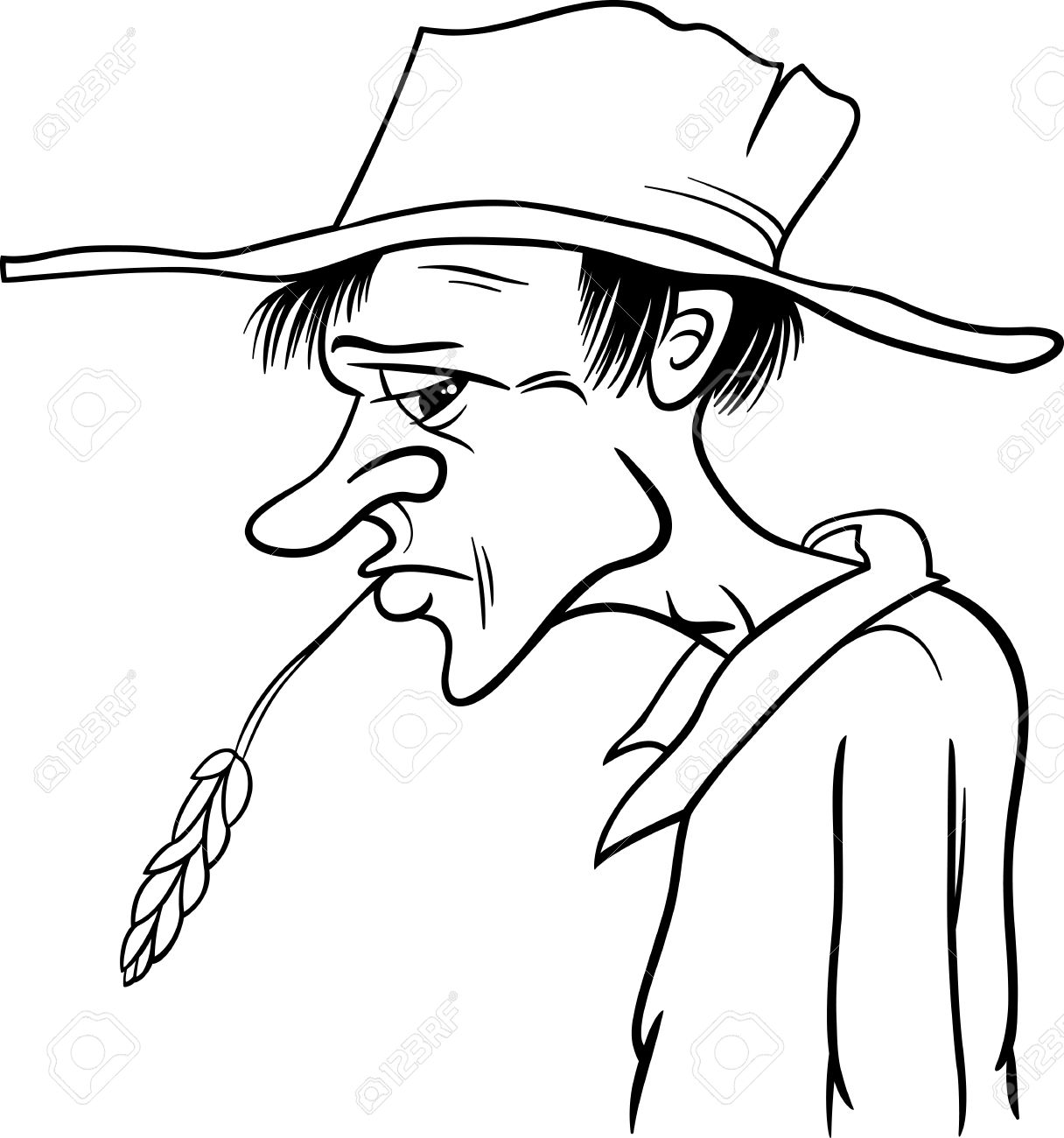 1216x1300 Black And White Cartoon Illustration Of Farmer Or Cowboy In