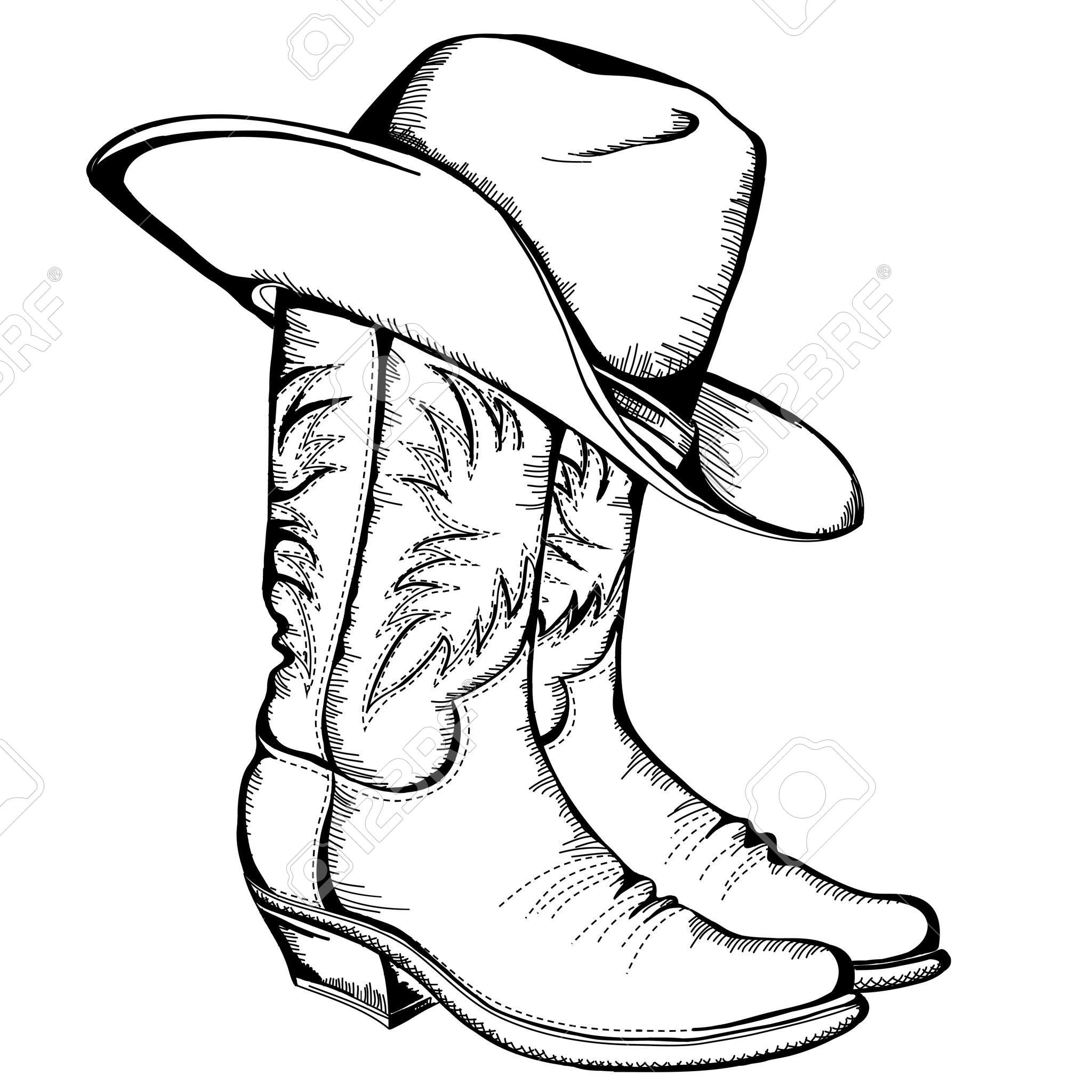 2048x2048 Cowboy Boots And Hat Graphic Illustration Pewter