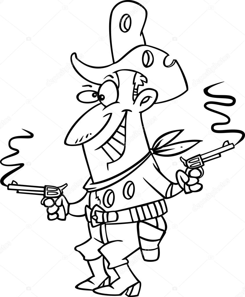 846x1023 Vector Of A Cartoon Shot Cowboy Black And White Outline
