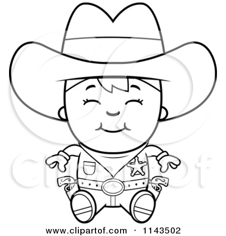 450x470 Cartoon Clipart Of A Black And White Happy Sheriff Cowboy Kid