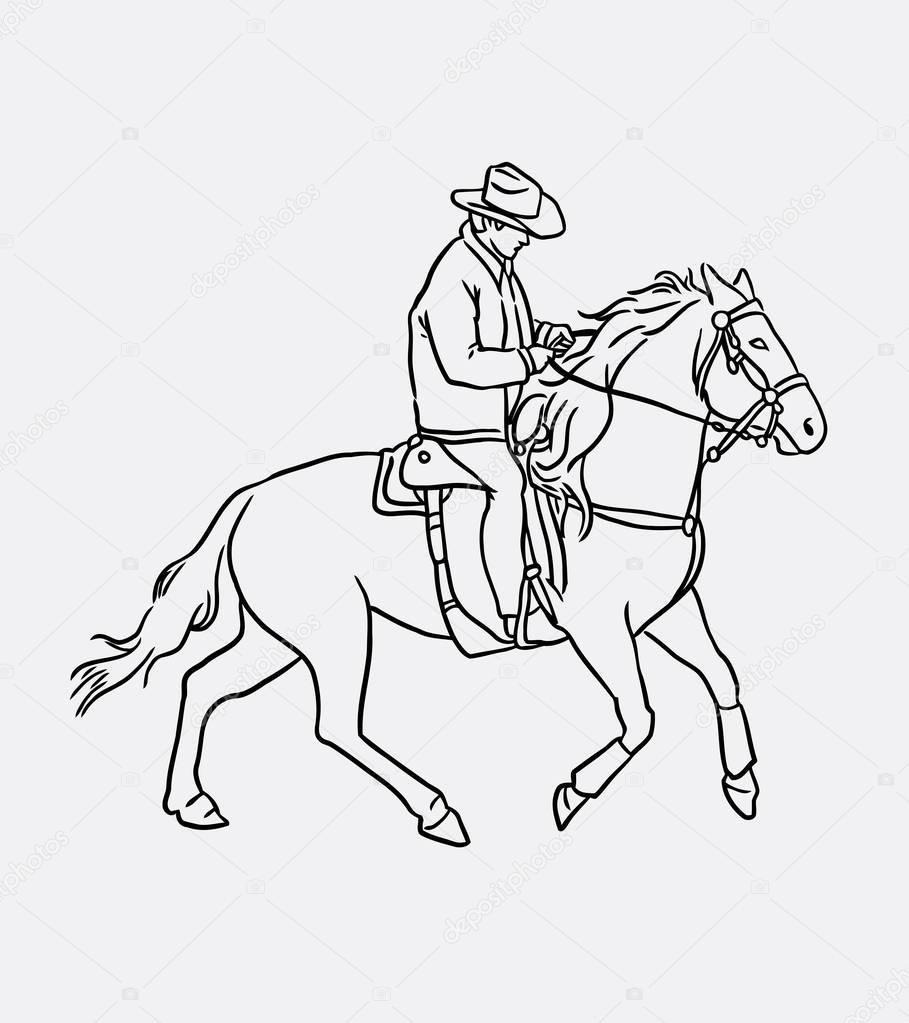909x1023 Cowboy Riding Horse Line Art Drawing Stock Vector Cundrawan703