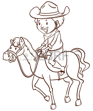 379x450 Illustration Of A Simple Drawing Of A Cowboy On A White Background