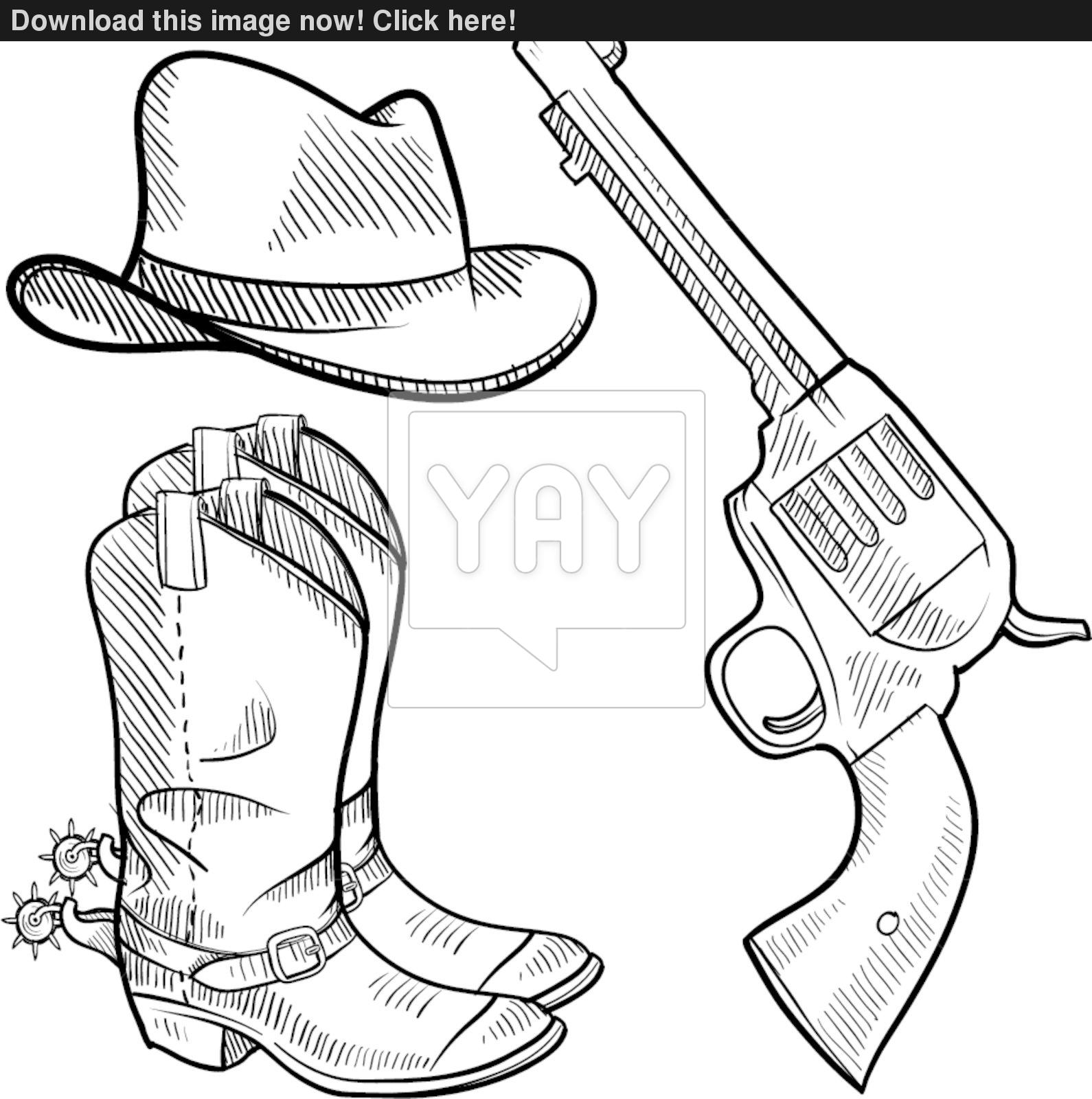 Cowboy Hat And Boots Drawing at GetDrawings.com   Free for personal ...
