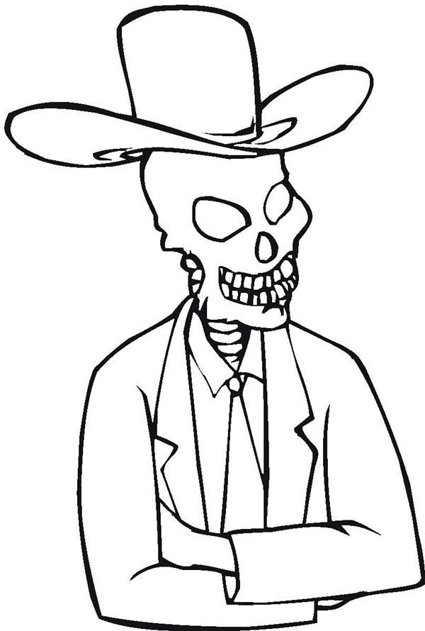 600x890 Skeleton With Cowboy Hat Coloring Page