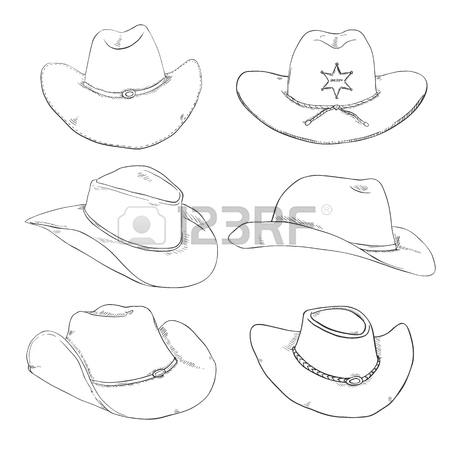 450x450 Vector Cartoon Sheriff Cowboy Hat With Gold Star Badge On White