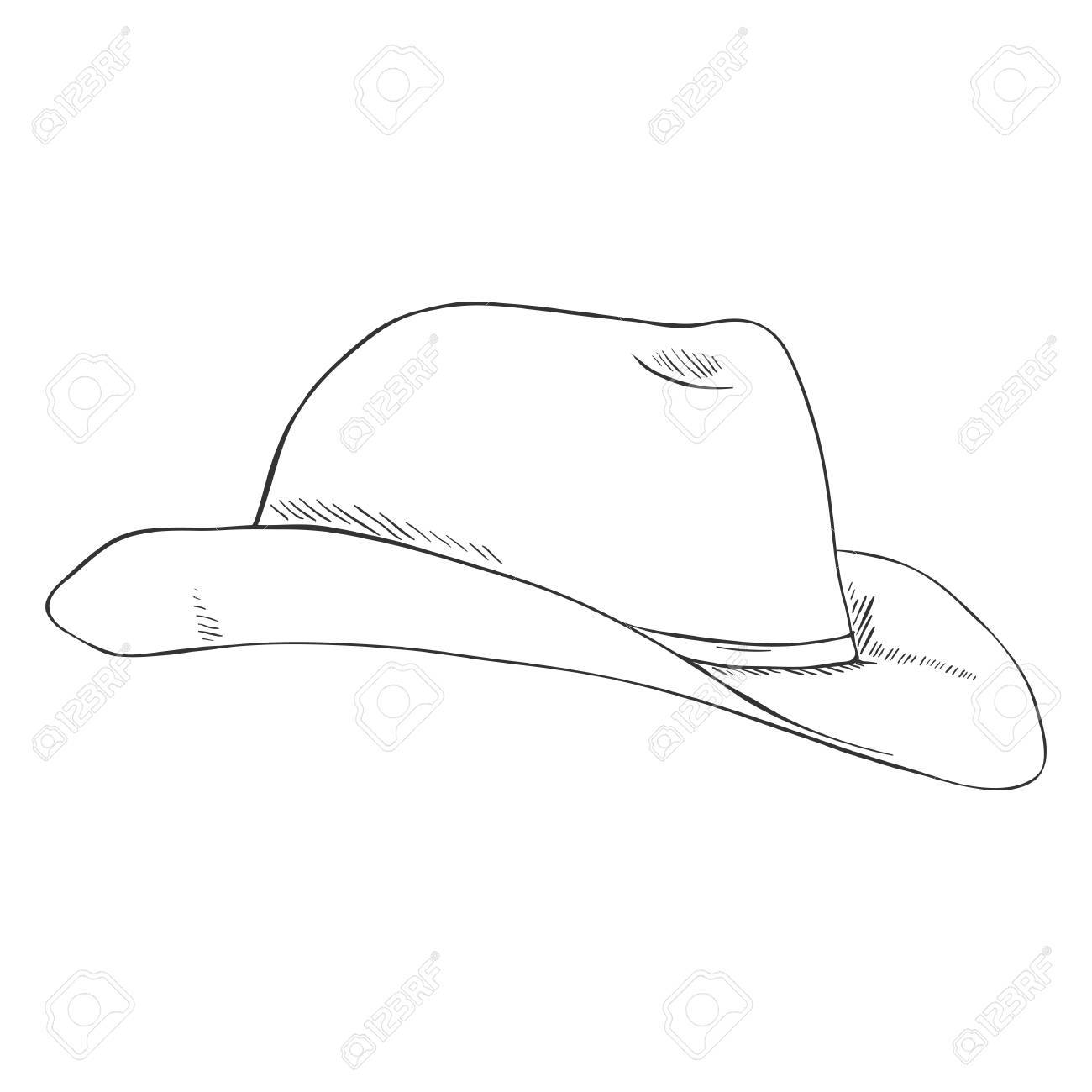 1300x1300 Vector Single Sketch Cowboys Hat On White Background Royalty Free