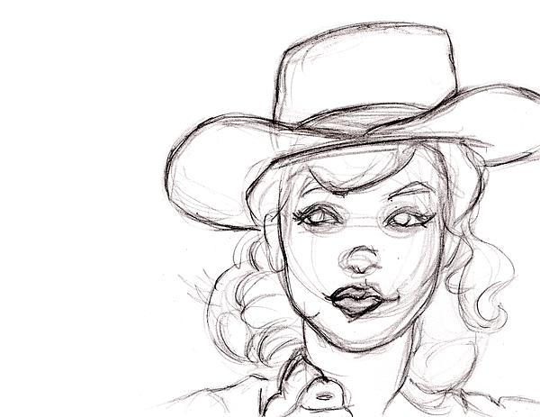 600x463 Pencil Sketch Drawing Of Retro Girl In Cowboy Hat Weekender Tote