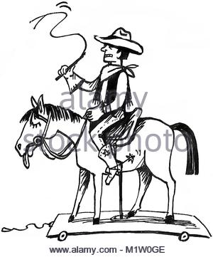 300x361 Drawing Sketch Style Illustration Of A Cowboy Holding Lasso Riding