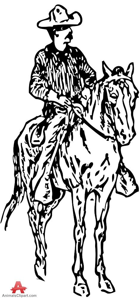 Cowboy On Horse Drawing At Getdrawings Com