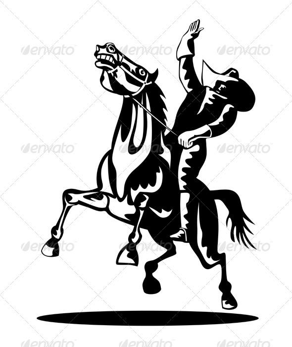 590x700 Rodeo Cowboy Riding Bucking Bronco Horse By Patrimonio Graphicriver