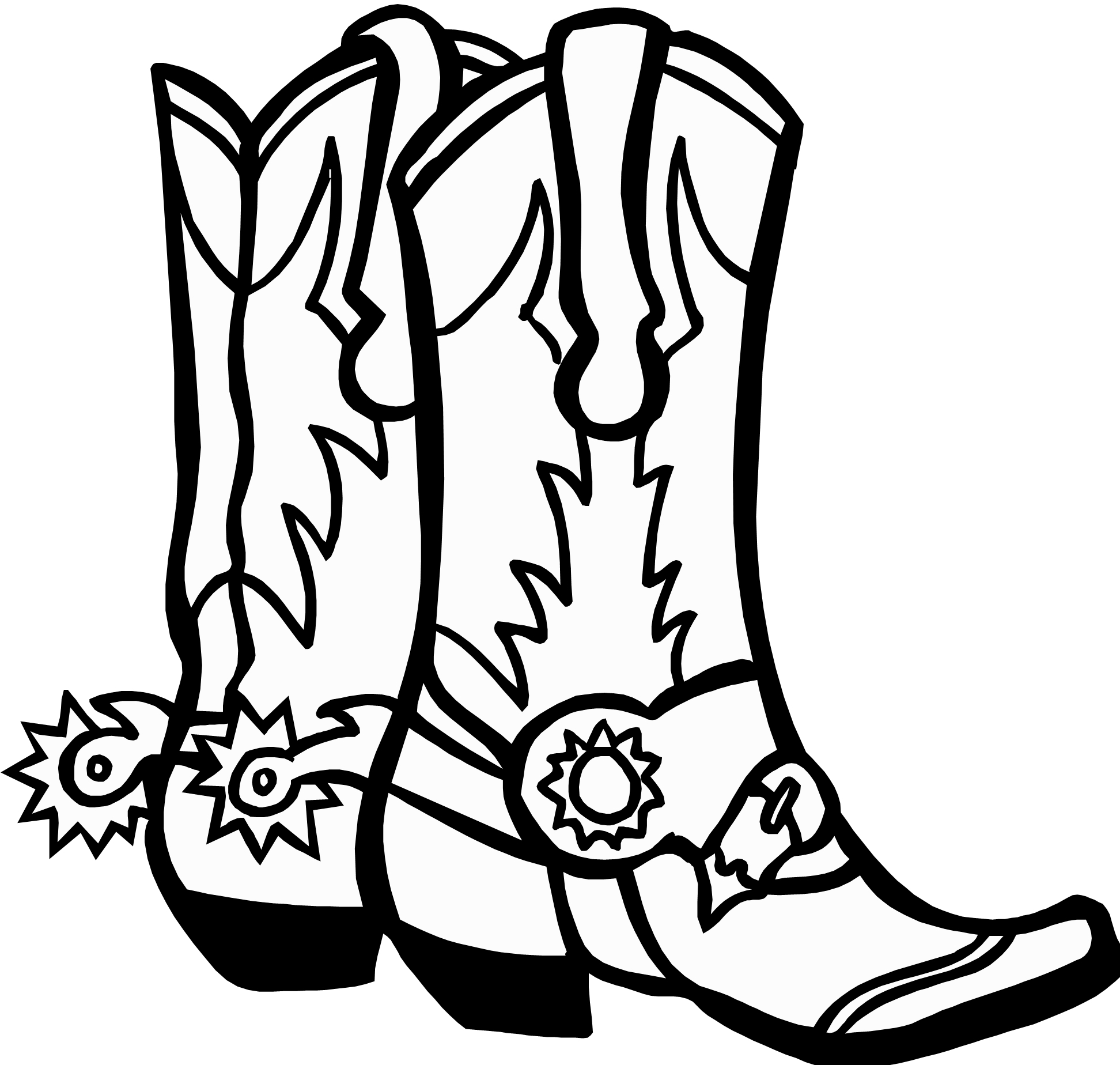 1944x1848 Drawing Of Cowboy Boots Cowboy Boots Hatvector Graphic