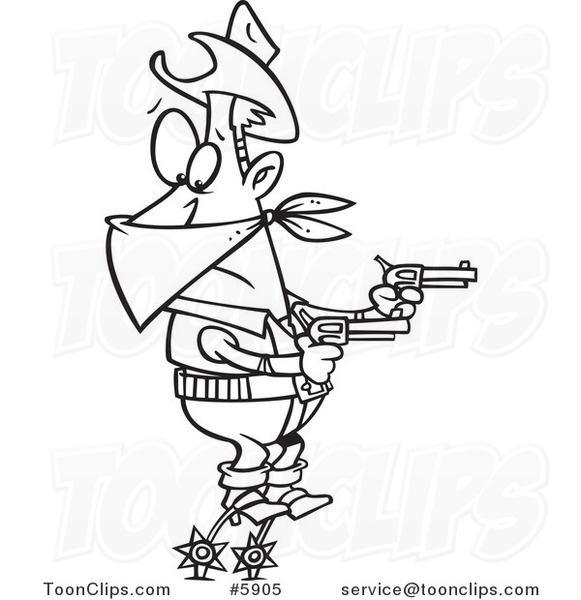581x600 Cartoon Black And White Line Drawing Of A Cowboy Balanced On His