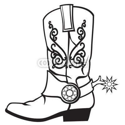 400x400 Drawing Cowboy Boots