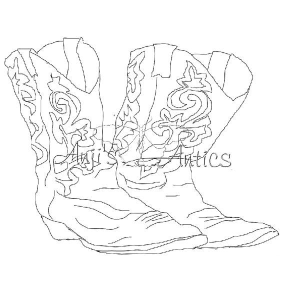 570x572 Cowboy Boots Digital Stamp Image Via Etsy Craft Ideas