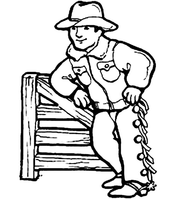 600x680 Cowboy Prepare For His Turn To Do Rodeo Coloring Page Coloring Sun