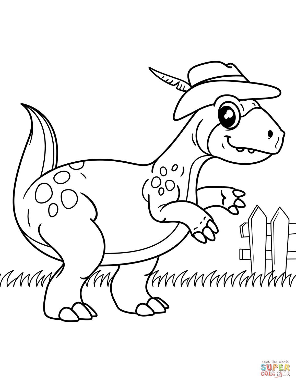 1159x1500 Dinosaur Wearing Cowboy Hat Coloring Page Free Printable