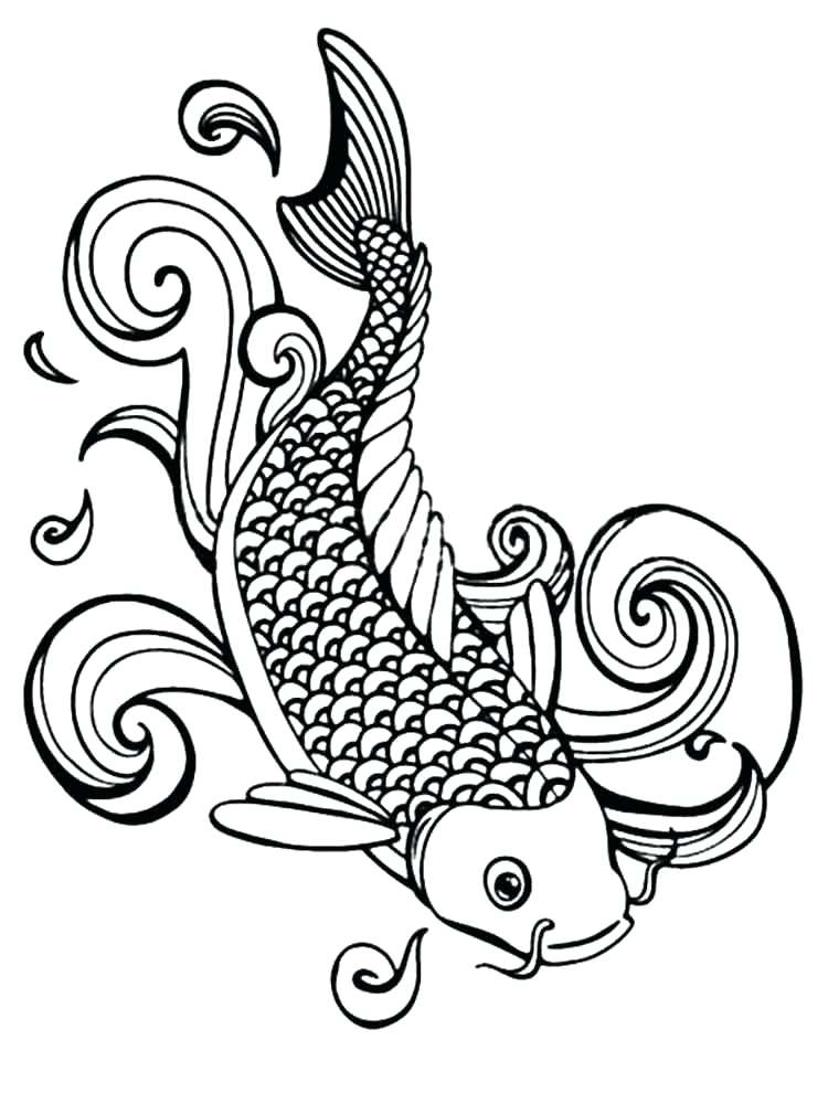 750x1000 Koi Fish Coloring Pages Fish Coloring Pages Adult 8 Koi Fish