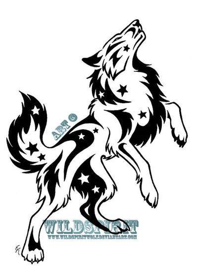 400x559 Starry Standing Wolf Tattoo By Wildspiritwolf