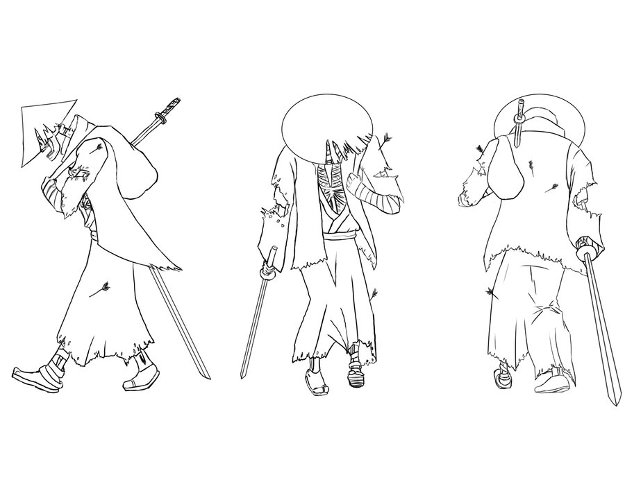 900x695 Zombie Samurai Line Art By Coyote Productions