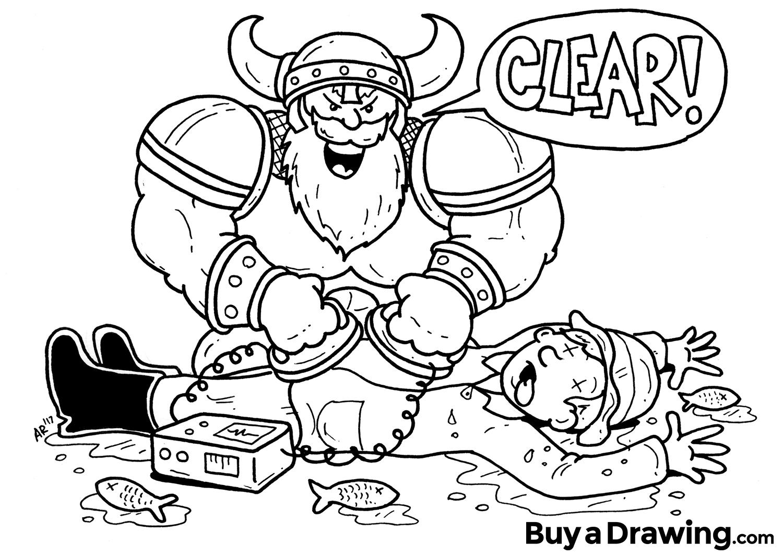 1500x1065 Custom Cartoon Drawing Of Tough Viking Giving Cpr