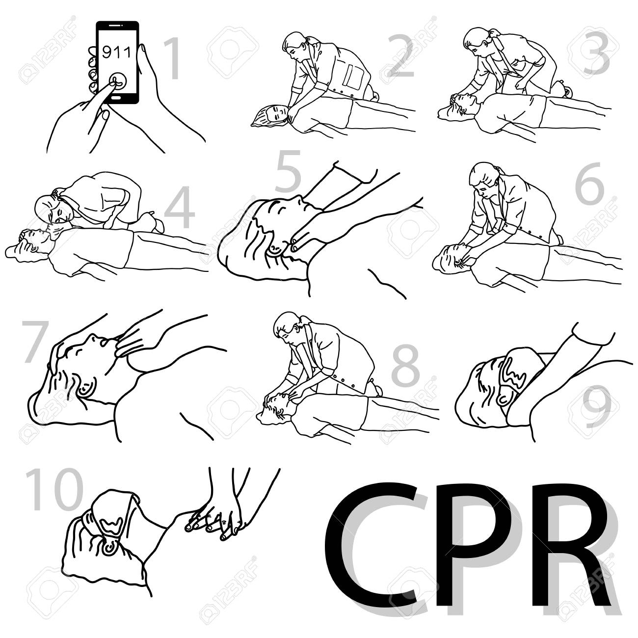 1300x1300 Emergency First Aid Cpr Procedure Vector Illustration Sketch