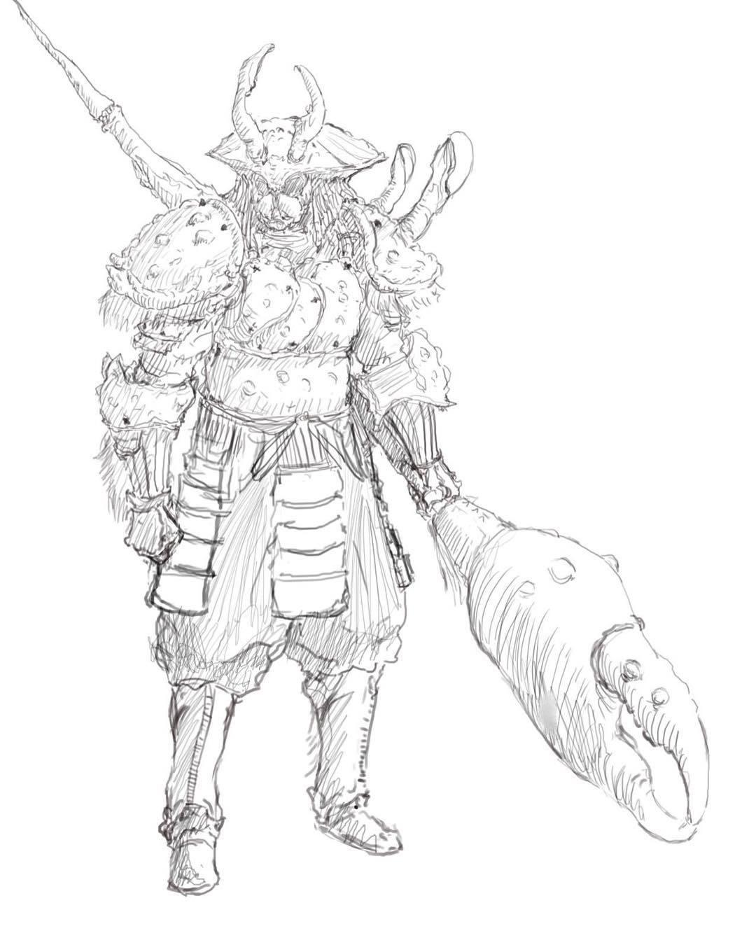 1080x1350 Hung Bui Samurai Crab Armor Linework