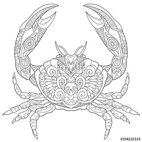 500x500 Zentangle Stylized Cartoon Crab, Isolated On White Background
