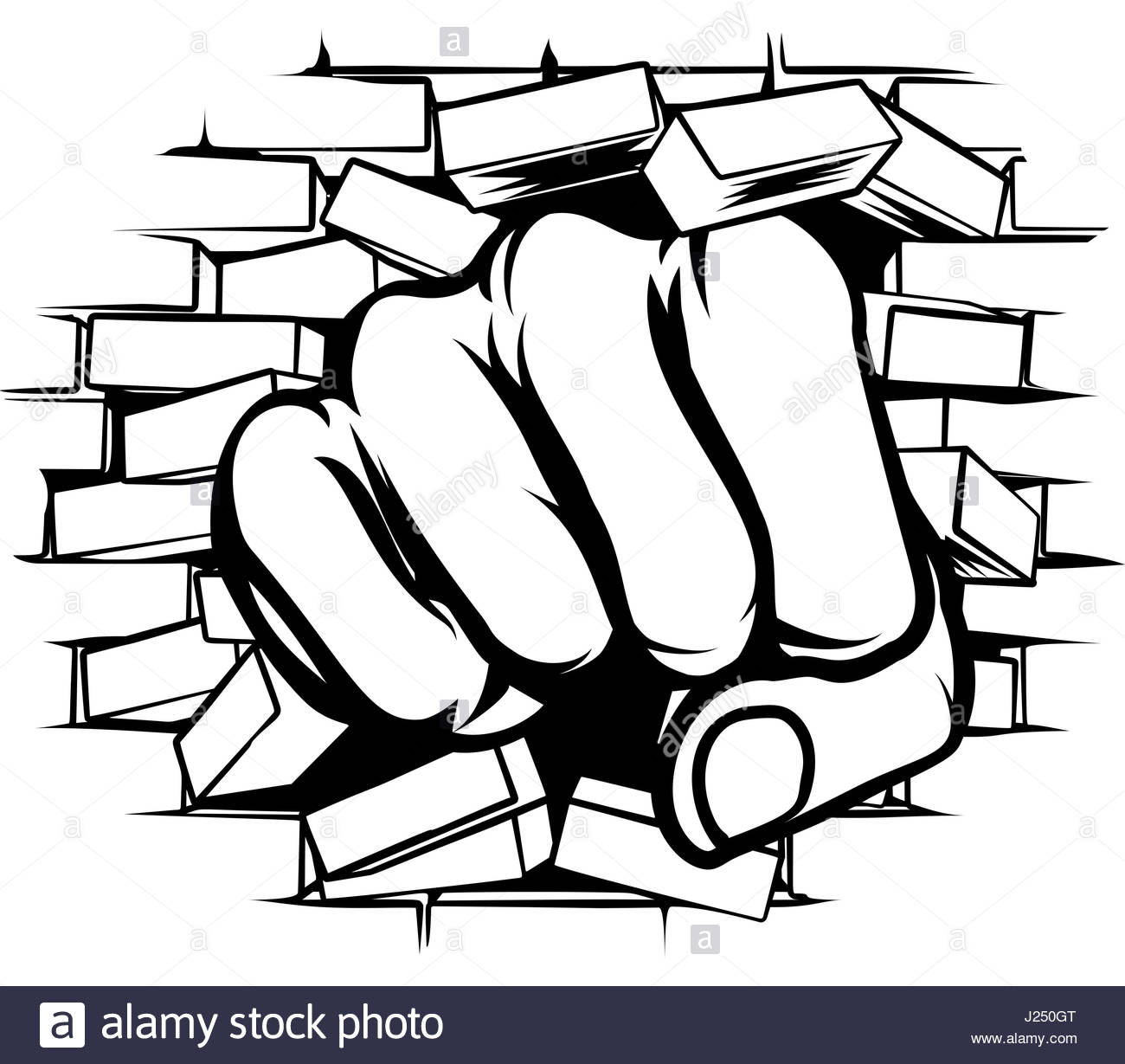 1300x1229 Fist Punching Through Brick Wall Stock Vector Art Amp Illustration