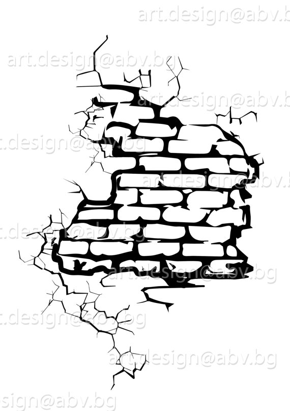 570x806 Cracked Brick Wall Clipart