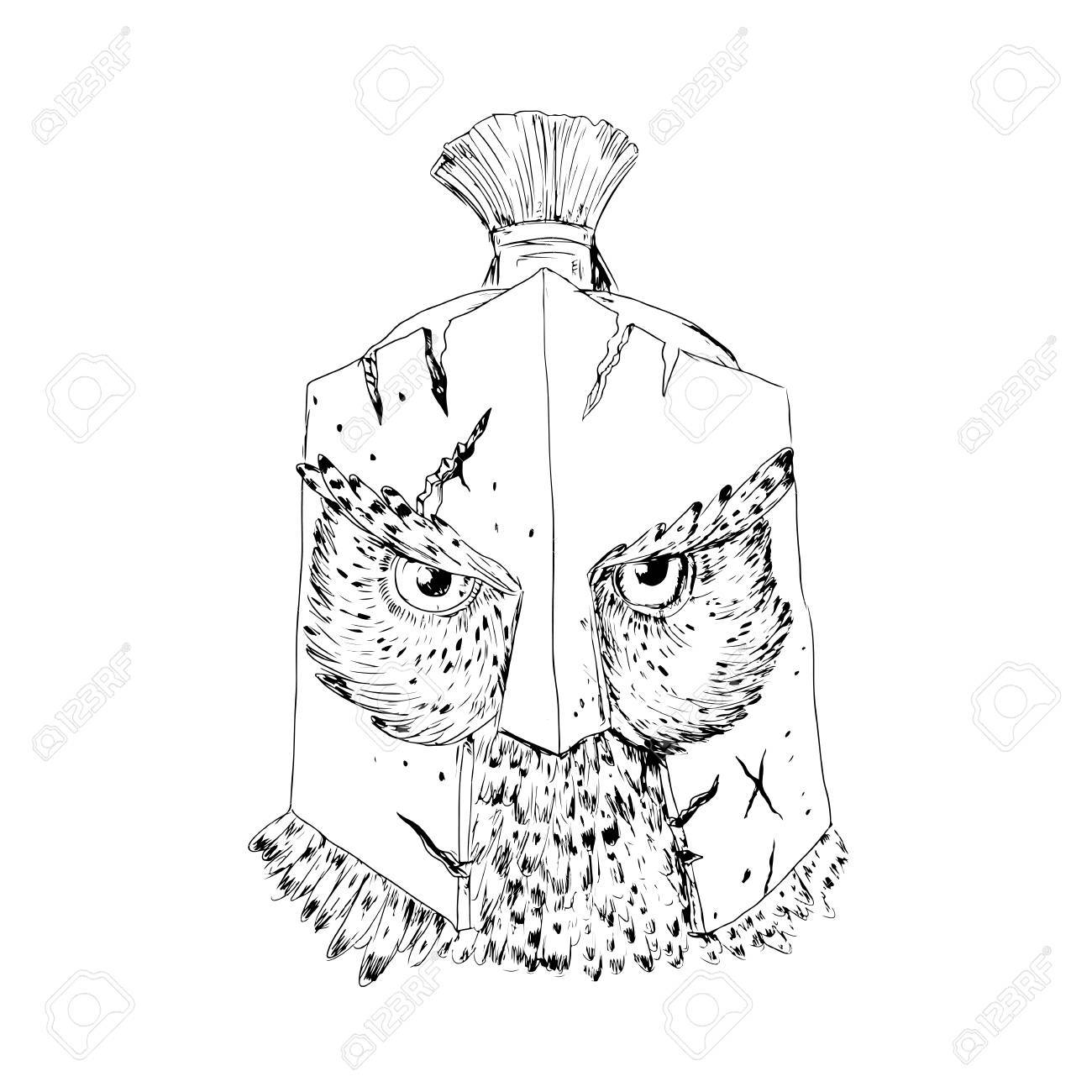 1300x1300 Drawing Sketch Style Illustration Of A Great Horned Owl Wearing
