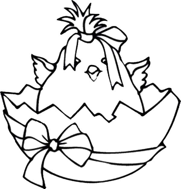 600x625 Broken Egg Contain Baby Chicken Wearing Ribbon Coloring Pages