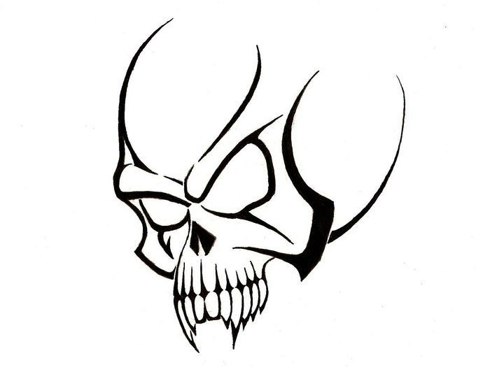 Cracked Skull Drawing
