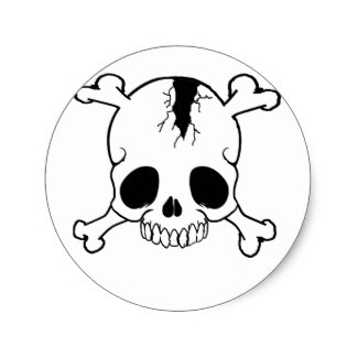 324x324 Cracked Skull Stickers Zazzle