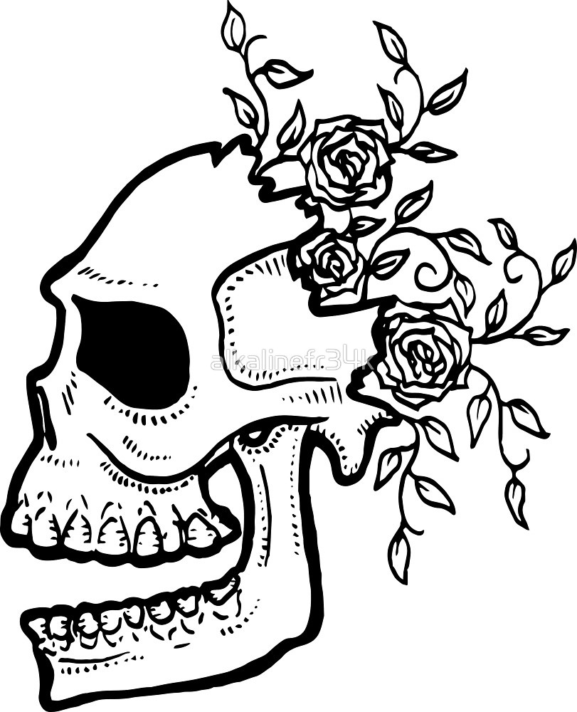 811x1000 Cracked Skull And Roses By Alkalinefr34k Redbubble