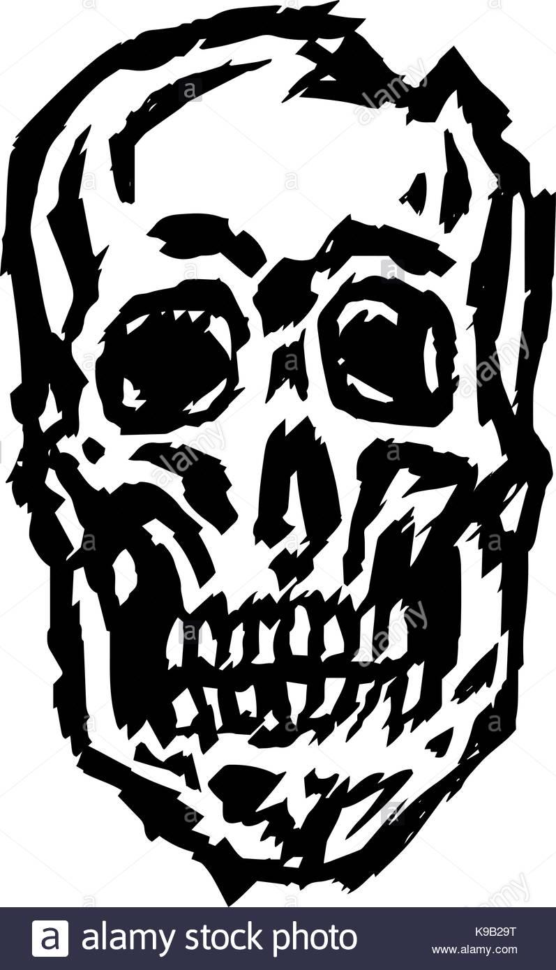 797x1390 Cracked Spooky Skull. Horror Character. Creepy,mask. Vector Stock