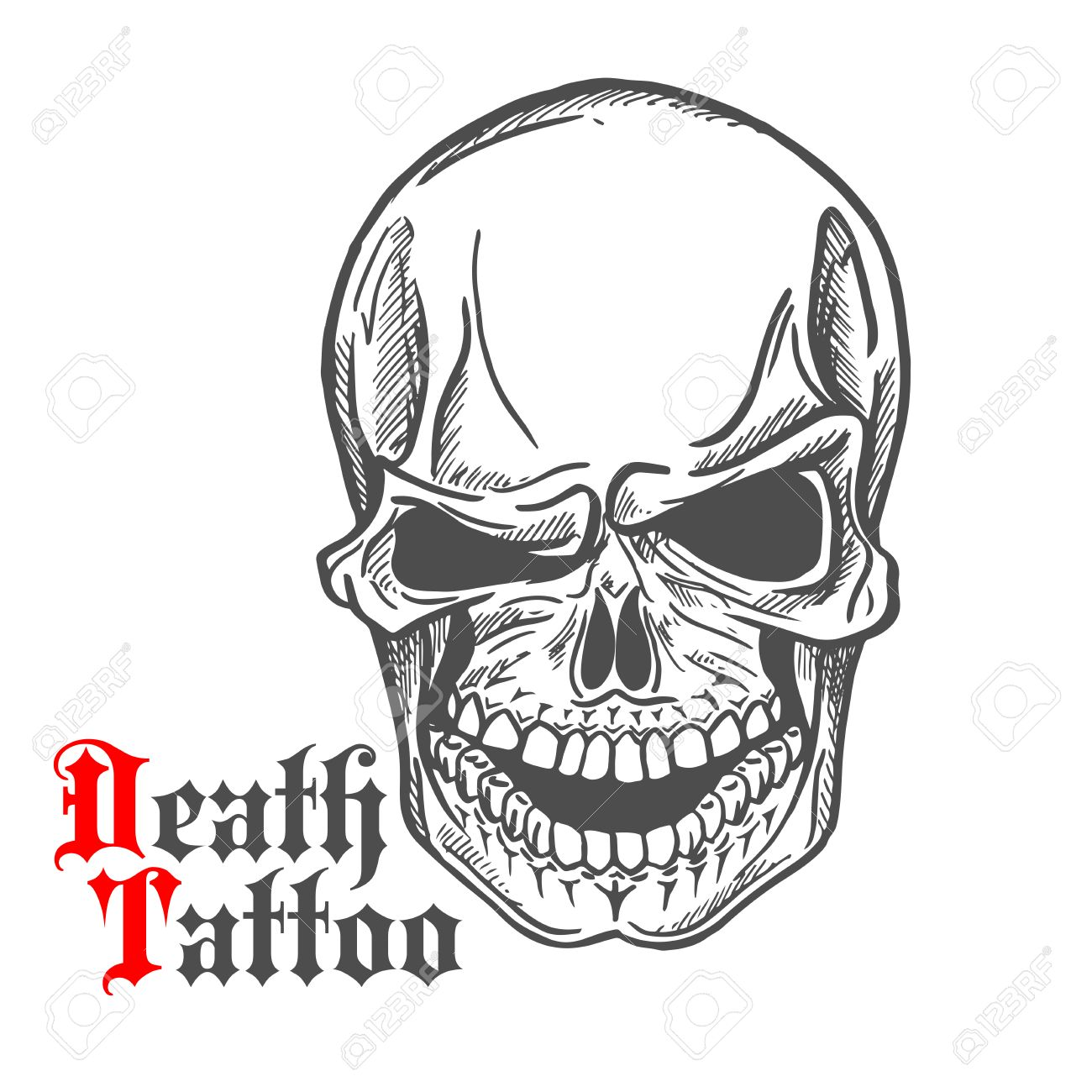 1300x1300 Dark Gray Human Skull Sketch With Spooky Smile And Caption Death