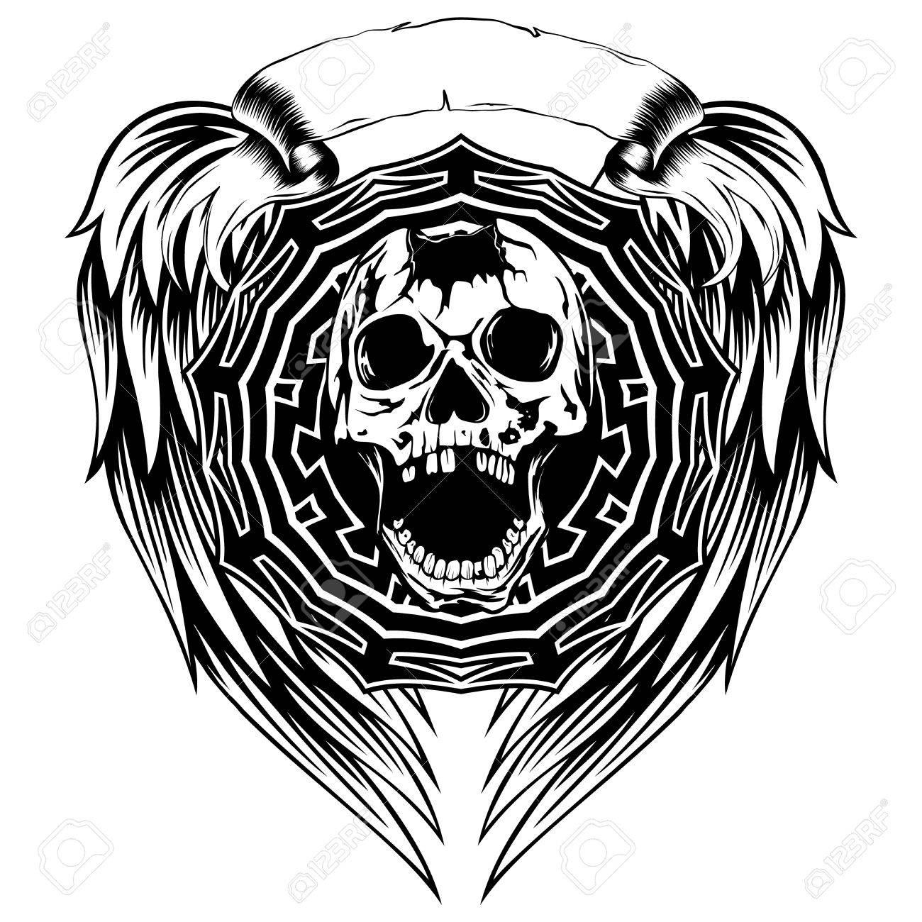 1300x1300 Abstract Vector Illustration Black And White Broken Skull