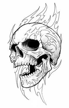 235x370 Cracked Skull Drawing