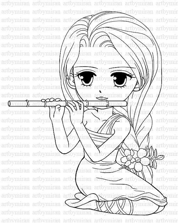570x713 Digi Stamp Serenade Pretty Girl Coloring Page Big Eyed