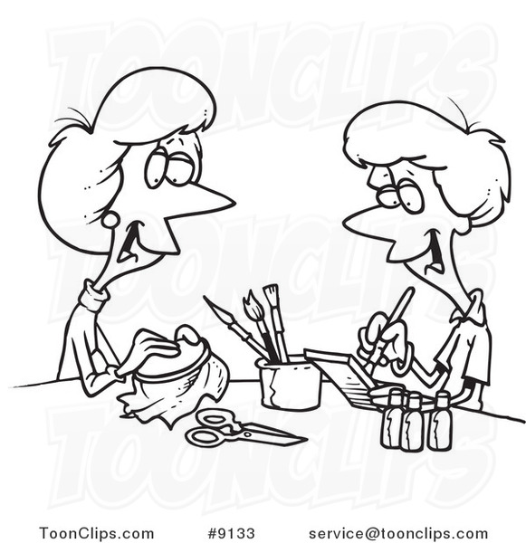 581x600 Cartoon Black And White Line Drawing Of Women Doing Crafts