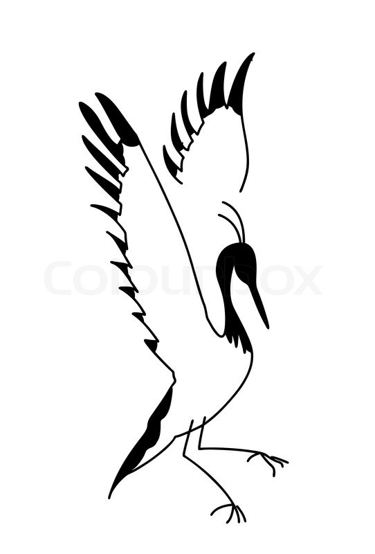 542x800 Silhouette Crane On White Background Stock Vector Colourbox