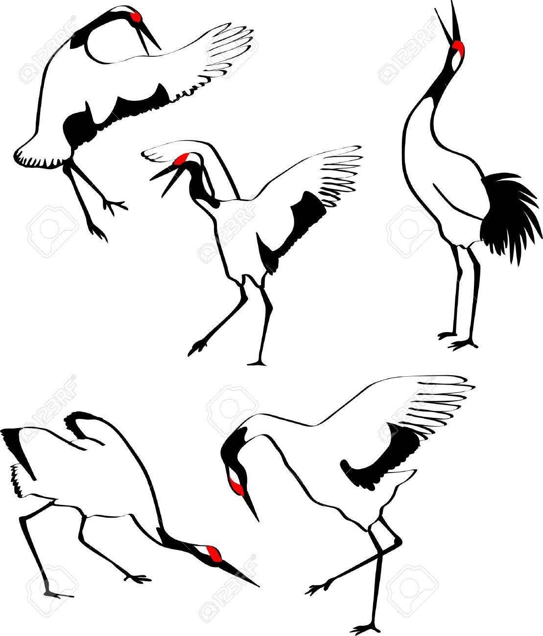 1109x1300 Dancing Japanese Crane Royalty Free Cliparts, Vectors, And Stock