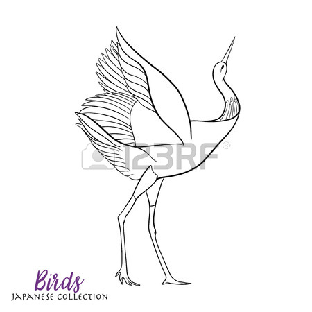 450x450 Japanese Crane. Coloring Book For Adult. Outline Drawing Coloring