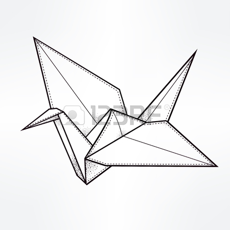 450x450 Origami Crane Bird. Paper Crane Stylized Triangle Polygonal Model