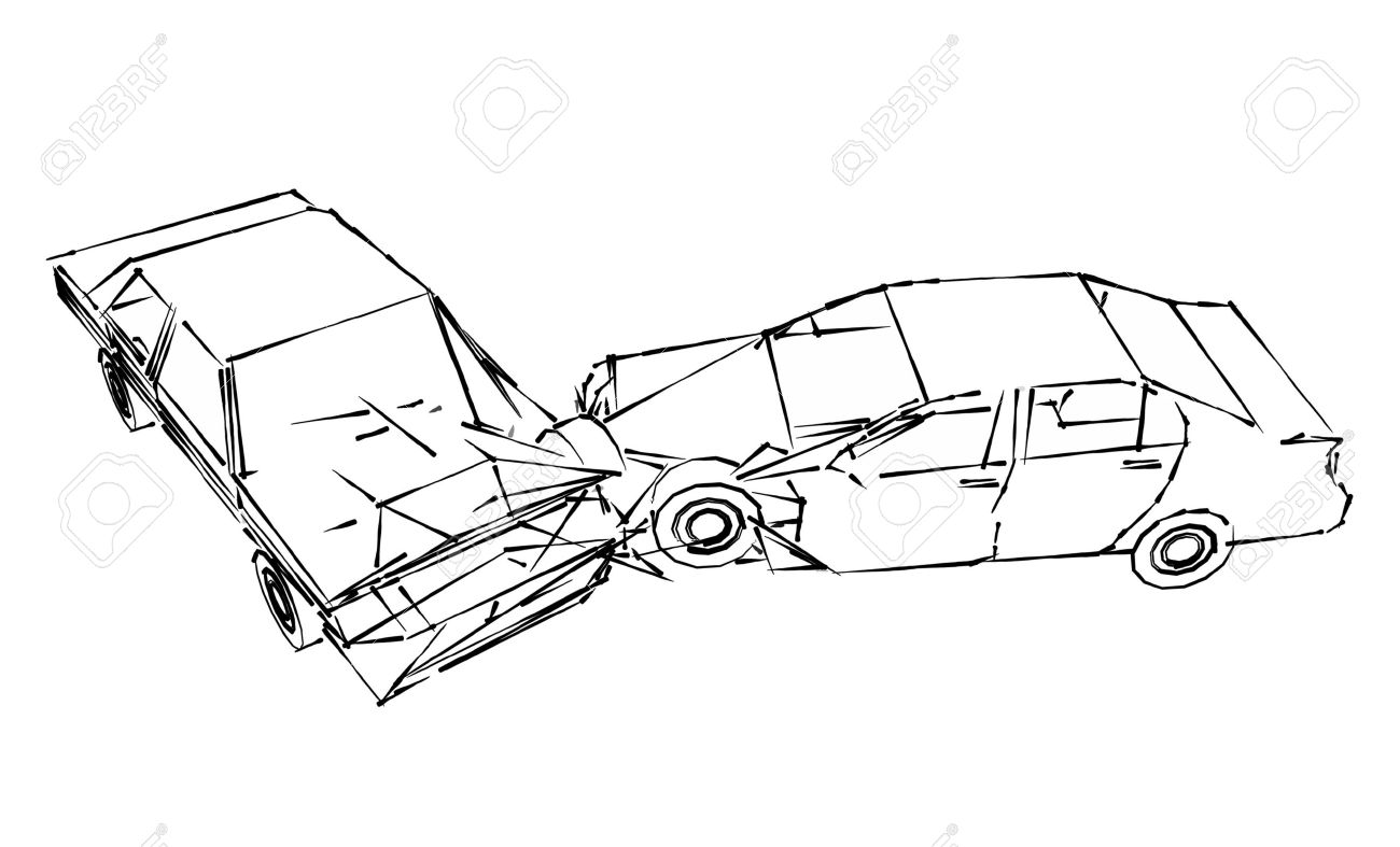 1300x787 Car Crash Accident, Sketch Stock Photo, Picture And Royalty Free