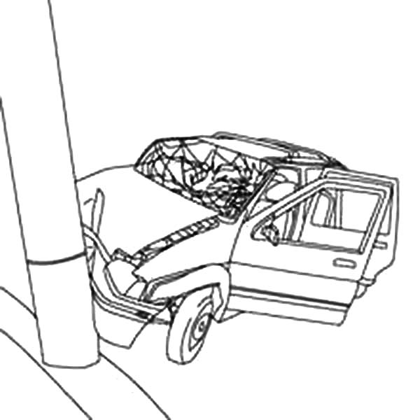600x600 Cars Crashed To Electricity Pool Coloring Pages